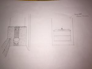 WC und Waschtisch (erster Entwurf)