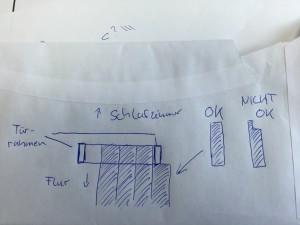 Detailreiche Zeichnugnen für die Planung (auf einem Briefumschlag)